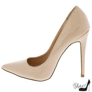 Hanna Nude Patent Leather Pointed Toe Pumps